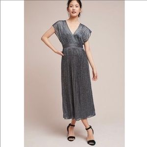 Moulinette Souers Metallic Pleated Wrap Dress 6